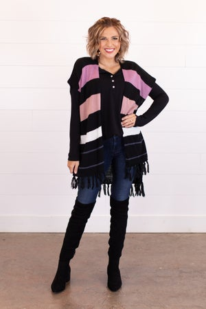 sku16944 | Color Block Poncho Cardigan