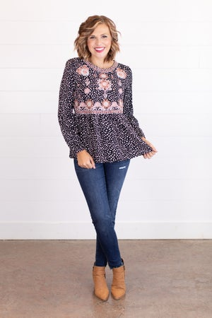 sku17574 | Embroidered Ditzy Dot Top
