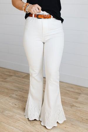 sku19801 | Embroidered Frayed Hem Flared Jeans