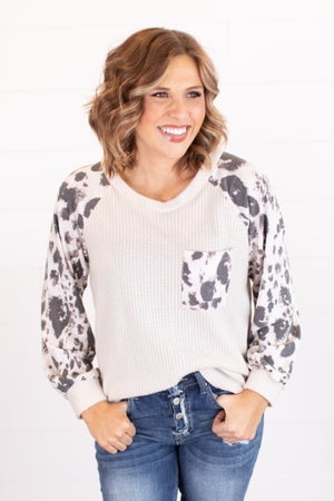 sku17966 | Animal Print Sleeve Top