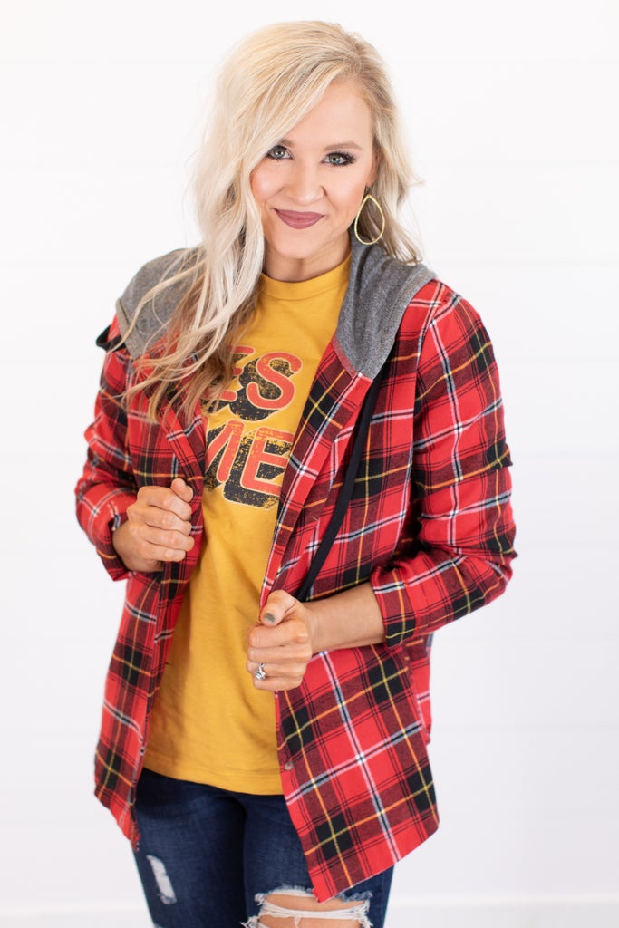 sku15969   Plaid Button Up Hooded Top