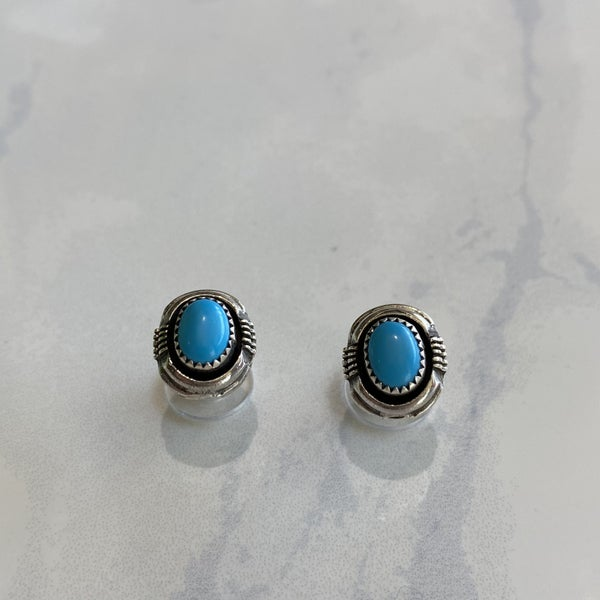 Turquoise Shadow Box Ear Post Earrings