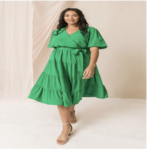 Ella Tiered Flutter Sleeve Midi Dress