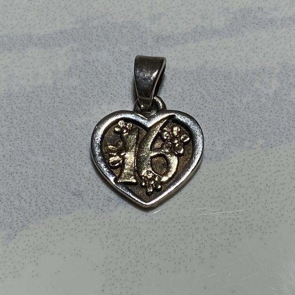 Retired James Avery Sweet 16 Heart Pendant