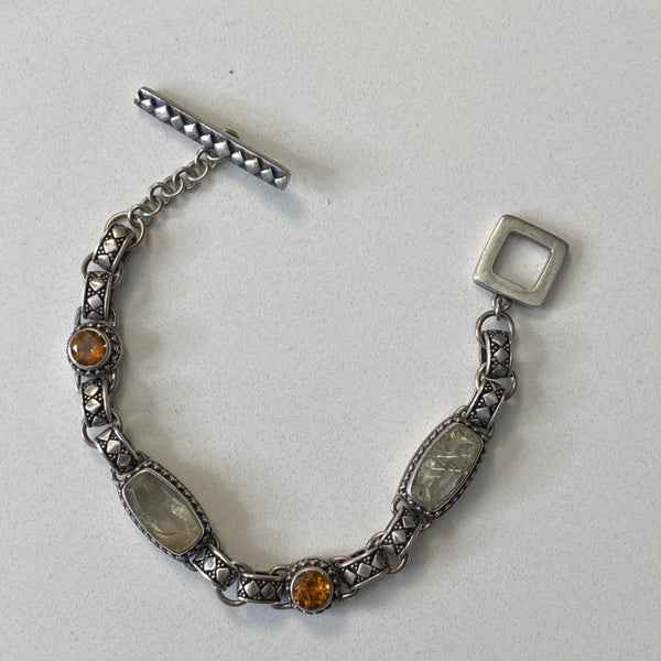 Silver Detailed Link Bracelet with Orange and Clear Glass