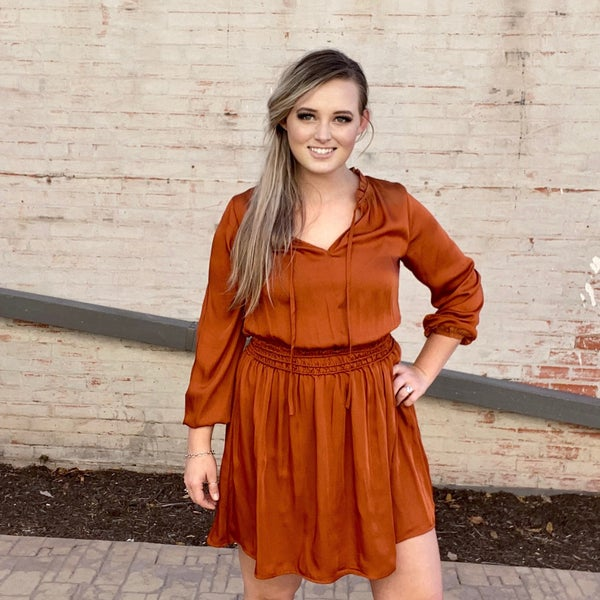 Kori Long Sleeve Smocked Waist Minidress