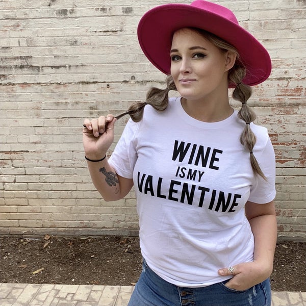 Wine is My Valentine Graphic Tee
