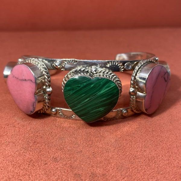 Vintage Taxco Multi-Stone Heart Cuff Bracelet