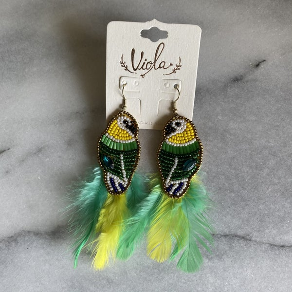 Birds of a Feather Beaded Earrings