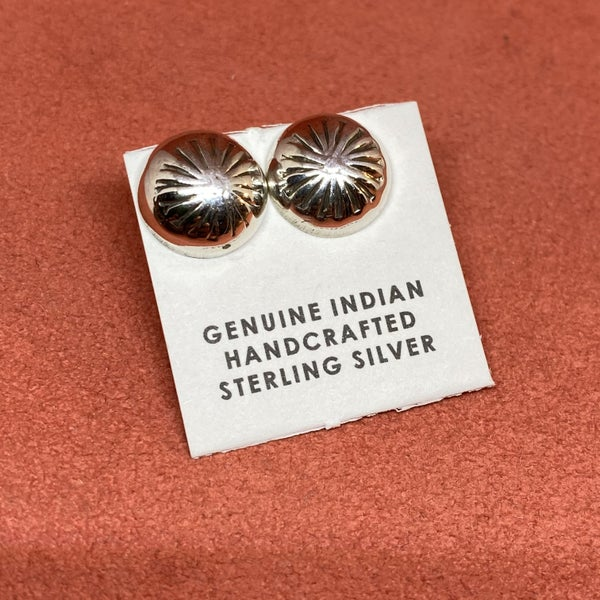 Sterling Silver Button Detailed Earrings
