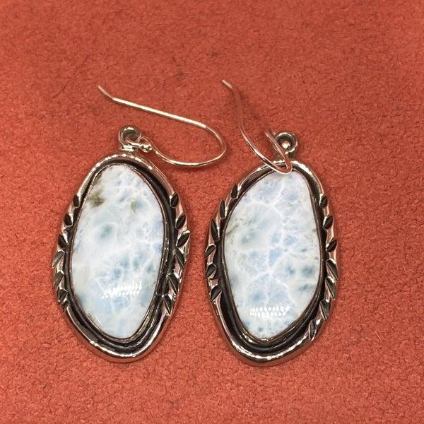 Sterling Silver Earrings w/ Larimar Stone