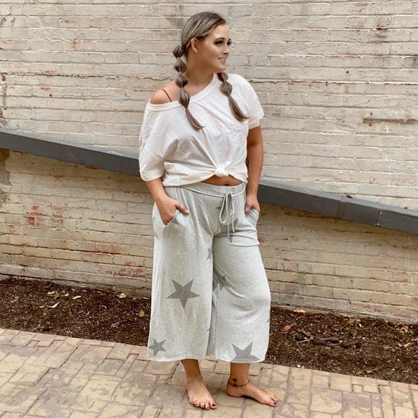 Wide Leg Star Print Knit Trousers