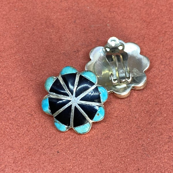 Onyx And Turquoise Cluster Earrings