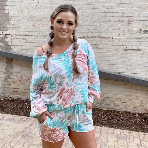 Tie-Dye Knit Long Sleeve Sweater & Shorts Set