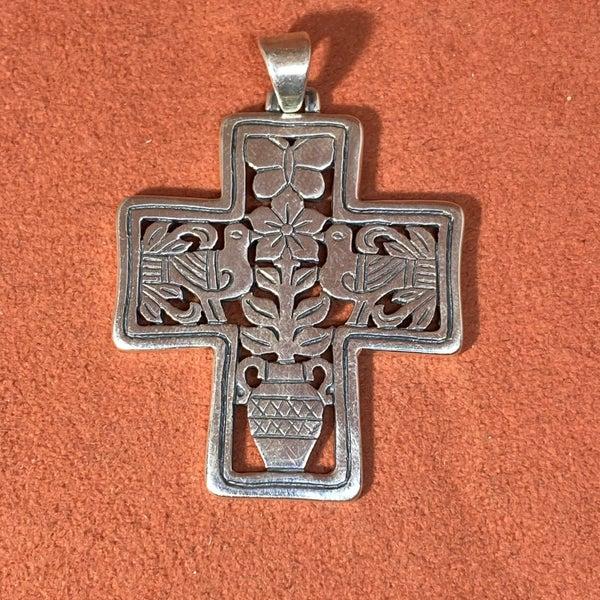 Retired & Rare James Avery Dove Flower Cross Pendant