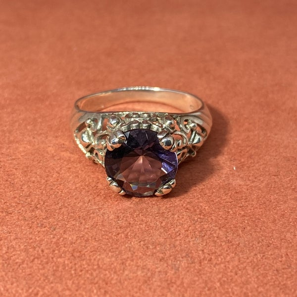Sterling Silver Ring w/ Synthetic Purple Stone