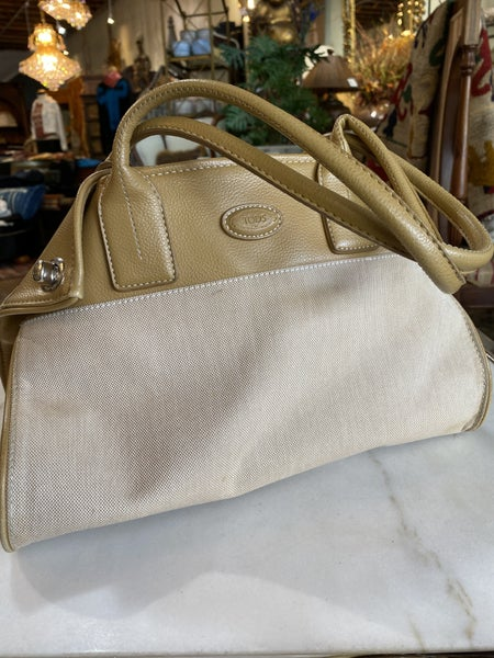Tods Canvas And Cream Bag