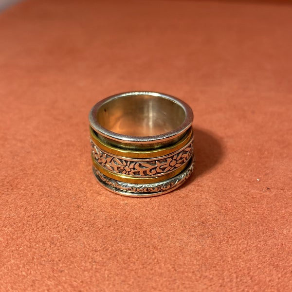 Silpada Brass And Sterling Spinner Ring