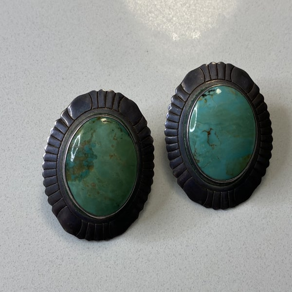 Gorgeous Turquoise Shield Earrings