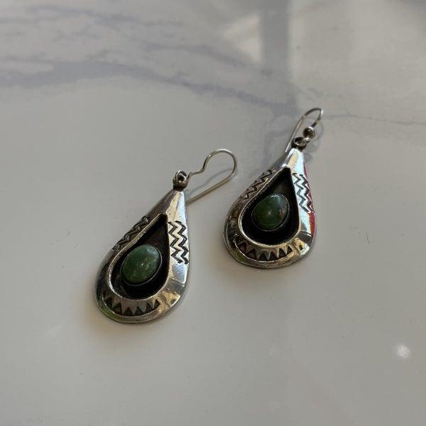 Turquoise Shadow Box Hook Earrings