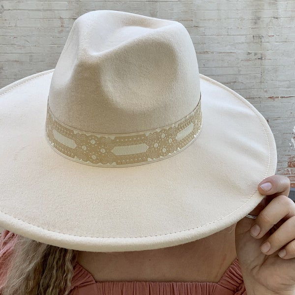 Flat Brimmed Hat w/ Lace Band