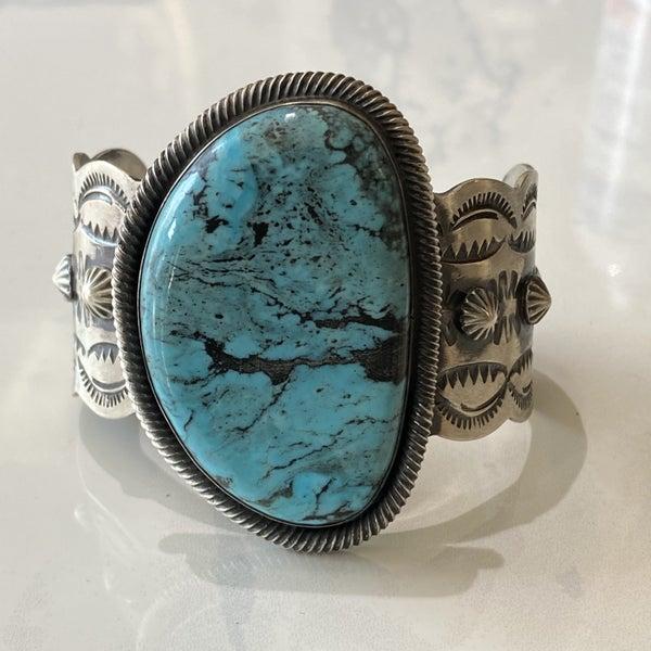 Huge Blue Turquoise Sand Cast Cuff Bracelet