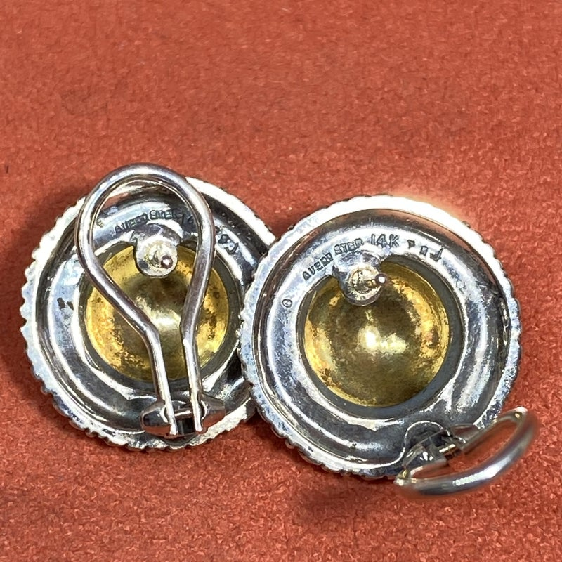 Retired James Avery Dome Earrings 14k Gold & Sterling Silver