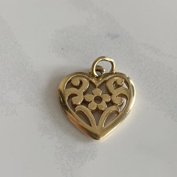 Retired James Avery Floral Heart Charm 14k Gold
