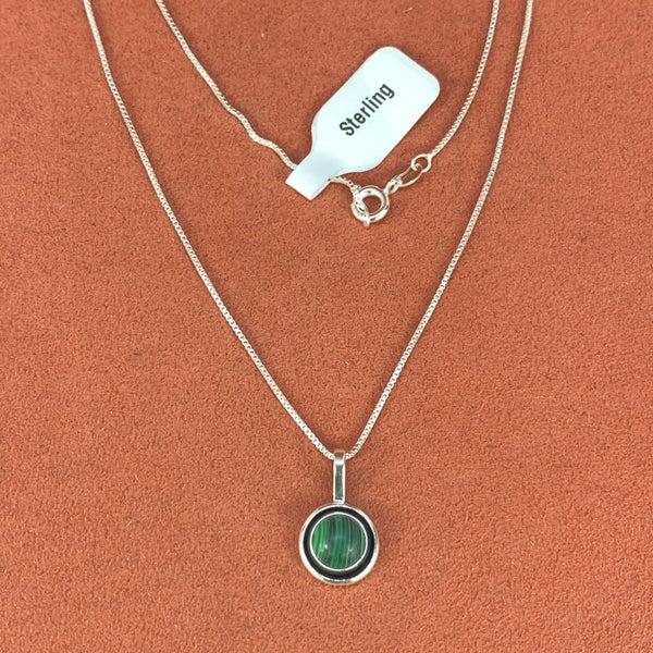 M&S Stone Pendant Necklace Malachite