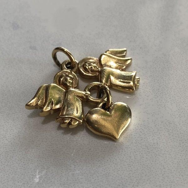 Retired James Avery Angels Heart Pendant 14k Gold