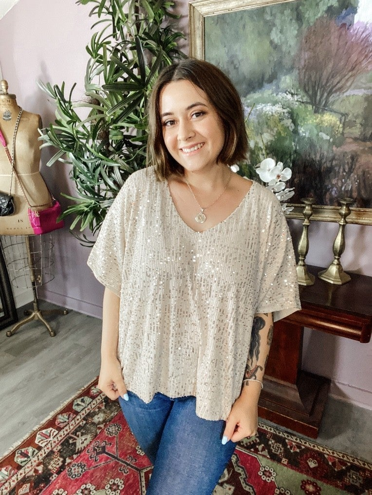 Sequin V-Neck Blouse