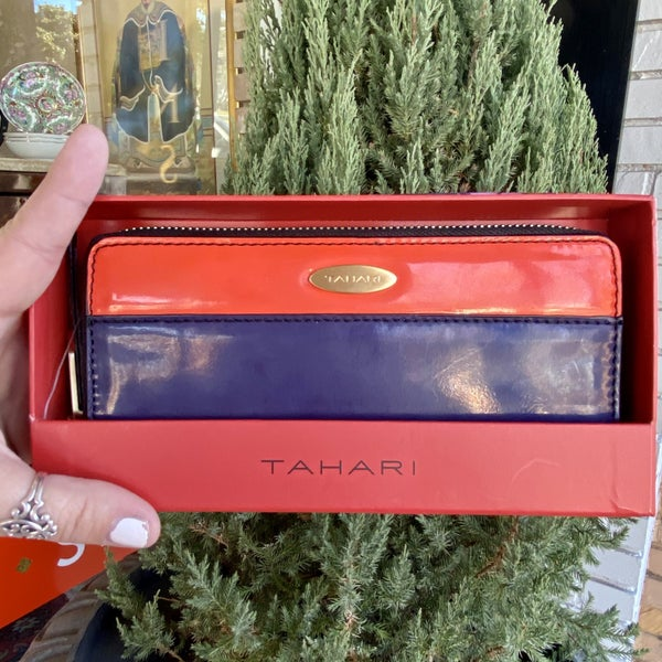 Tahari Patent Leather Two-Tone Wallet