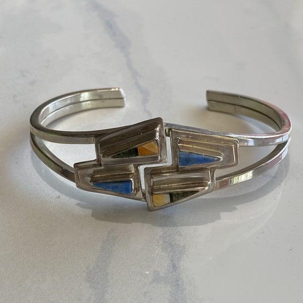 Multi-Stone Inlaid Cuff Bracelet