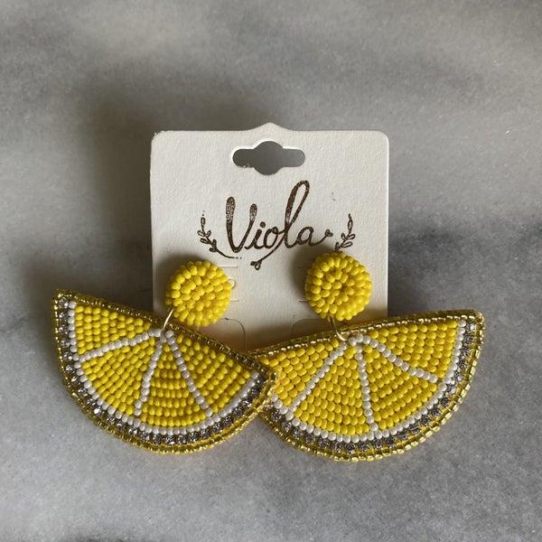 Easy Peasy Beaded Lemon Earrings