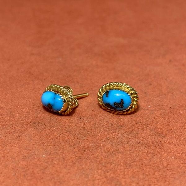Vintage Turquoise Stud Earrings 14k Gold
