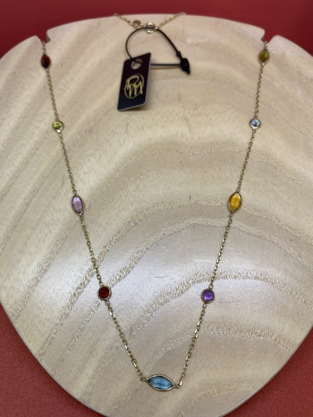 Raymond Mazza Multi-Color Station Necklace 14k Gold