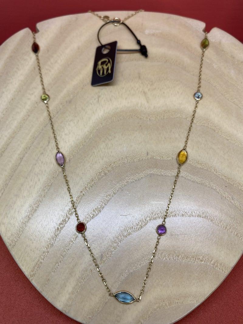 Raymond Mazza Multi-Color Station Necklace 14k Gold