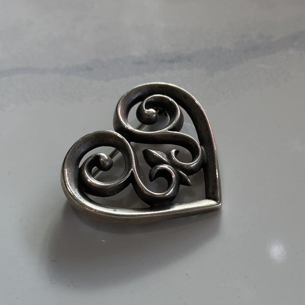 Retired James Avery French Heart Brooch