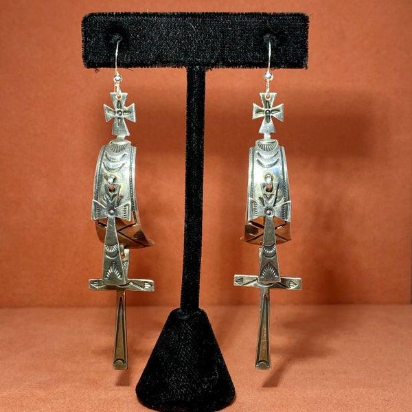 G. Ramone Cross Hoop Earrings