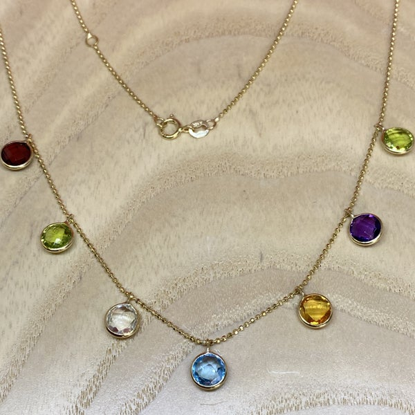Raymond Mazza 14K Yellow Gold Necklace Multi Color Stones