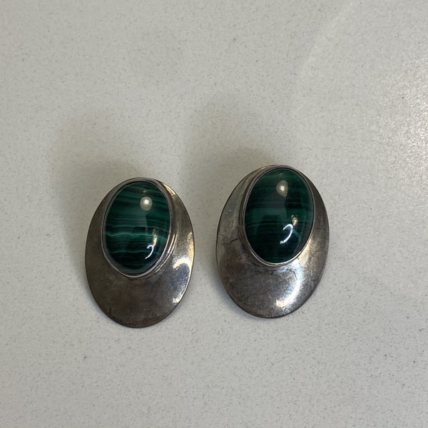 Malachite and Silver Post Earrings