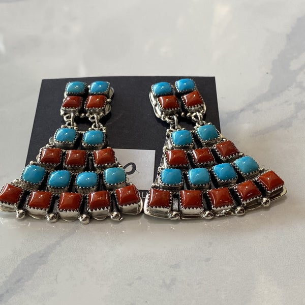 Epic Turquoise & Coral Earrings