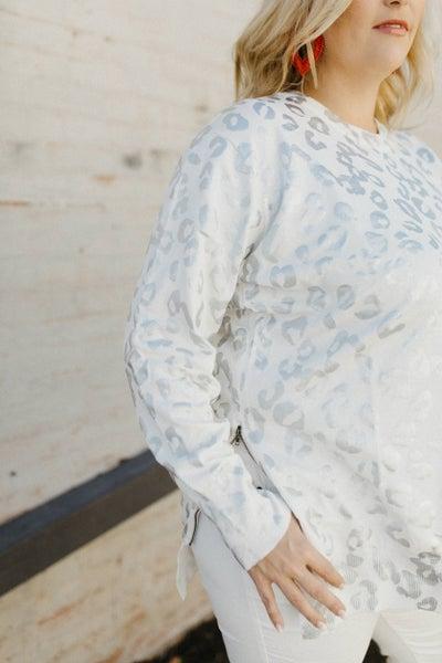 Leopard Print Sweater w/ Side Zipper
