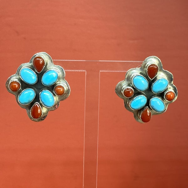 Turquoise & Red Coral Cluster Earrings
