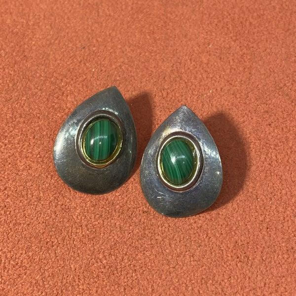 Malachite Tear Drop Stud Earrings