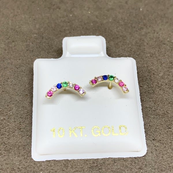 Rainbow Stud Earring 10k Gold