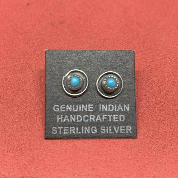 Genuine Sterling Silver And Turquoise Studs