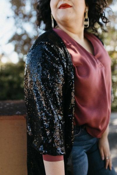 Sequin 3/4 Sleeve Kimono