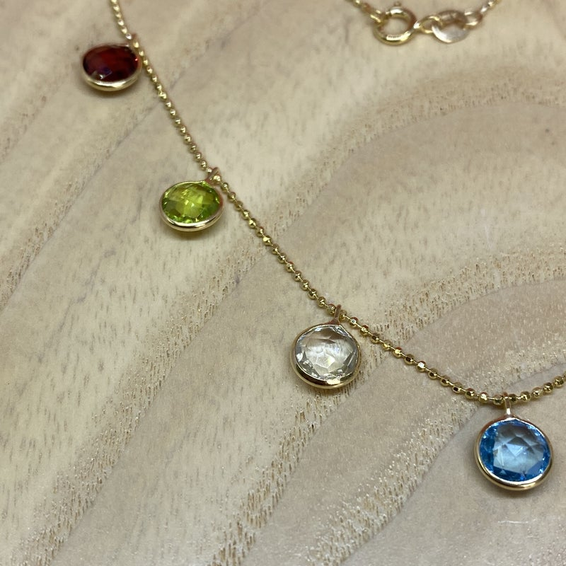 Raymond Mazza 14K Yellow Gold Necklace Multi Color Stones