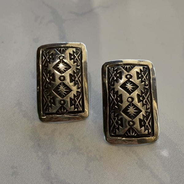 Etched Post Earrings